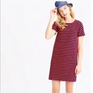 J Crew red and navy striped shirt dress NWOT!